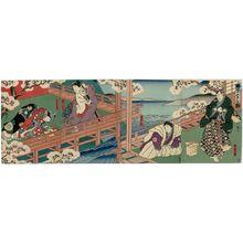 Utagawa Hirosada: Actors, from right: Nakamura Utaemon IV as Daihanji, Jitsukawa Enzaburô I as Koganosuke, Mimasu Daigorô IV as Sadaka, and Nakayama Nanshi II as Hinadori, in Imoseyama Buyûden - Museum of Fine Arts
