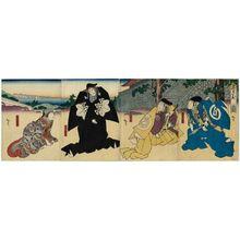 Utagawa Hirosada: Actors, from right: Jitsukawa Enzaburô I as Momonoi Wakasanosuke, Mimasu Daigorô IV as En'ya Hangan, Nakamura Utaemon IV as Kô no Moronao, and Yamashita Kinsaku IV as Kaoyo Gozen, in Act 1 of Chûshingura - Museum of Fine Arts