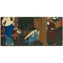 Utagawa Hirosada: Actors Nakamura Utaemon IV as Karaki Masaemon (R), Nakayama Nanshi II as Otani (C), and Mimasu Daigorô IV as Yamada Kôbei (L), in Igagoe Buyûden - Museum of Fine Arts