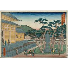 代長谷川貞信: The Great Lantern at Nanzen-ji Temple (Nanzen-ji dai tôrô), from the series Famous Places in the Capital (Miyako meisho no uchi) - ボストン美術館