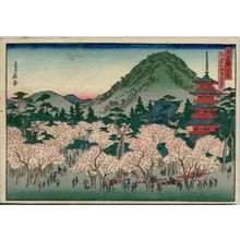 Hasegawa Sadanobu I: Cherry Blossoms in Full Bloom at Ninna-ji Temple in Omuro (Omuro Ninnaji hanazakari), from the series Famous Places in the Capital (Miyako meisho no uchi) - Museum of Fine Arts
