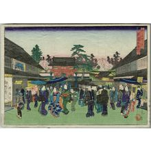 代長谷川貞信: West Gate of the Gion Shrine (Gion-sha saimon), from the series Famous Places in the Capital (Miyako meisho no uchi) - ボストン美術館