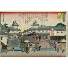 代長谷川貞信: Kôrai Bridge (Kôrai-bashi), from the series One Hundred Views of Osaka (Naniwa hyakkei no uchi) - ボストン美術館