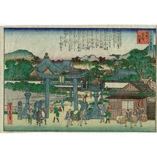代長谷川貞信: Bishamon Temple at Nagamachi (Nagamachi Bishamon-dô), from the series One Hundred Views of Osaka (Naniwa hyakkei no uchi) - ボストン美術館