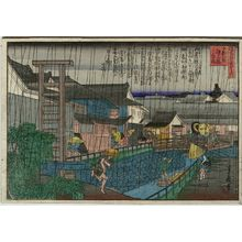 Hasegawa Sadanobu I: Shower at Ume Bridge in Kitanoshinchi (Kitanoshinchi Ume no hashi hakuu), from the series One Hundred Views of Osaka (Naniwa hyakkei no uchi) - Museum of Fine Arts