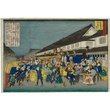代長谷川貞信: First Sales of the Year on Shinsai-bashi Avenue (Shinsaibashi-dôri hatsu-uri no kei), from the series One Hundred Views of Osaka (Naniwa hyakkei no uchi) - ボストン美術館