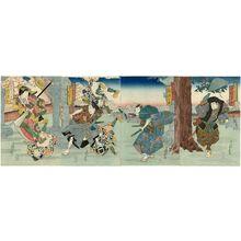 代長谷川貞信: Actors in Imagined Roles (Mitate): from right, Nakamura Tamasuke as Inuyama Dôsetsu; Mimasu Gennosuke as ?; Nakamura Utaemon as Inuzaka Keno; Nakamura Tomijûrô II as Kaname no Mae - ボストン美術館