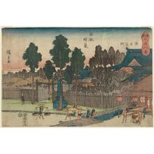 Utagawa Hiroshige: Clearing Weather at Shirogane; the Shrine of Lord Kiyomasa (Shirogane no seiran, Seishô-kô hokora), from the series Eight Views of Shiba in the Eastern Capital (Tôto Shiba hakkei) - Museum of Fine Arts
