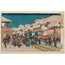 歌川広重: Cherry Blossoms in the Yoshiwara (Yoshiwara sakura no zu), from the series Famous Places in Edo (Kôto meisho) - ボストン美術館