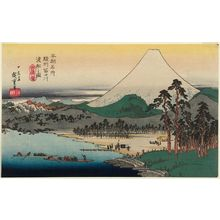 Utagawa Hiroshige: Ferry Boats on the Fuji River in Suruga Province (Sunshû Fujikawa watashibune no zu), from the series Famous Places in Our Country (Honchô meisho) - Museum of Fine Arts