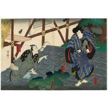 Nansuitei Yoshiyuki: Actors Jitsukawa Enjaku I as Shundô Tokujirô (R) and Nakamura Komanosuke V as the tabacconist Kihachi (L) - Museum of Fine Arts