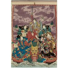 Utagawa Yoshitoyo: Actors as the Seven Gods of Good Fortune in the Treasure Ship - Museum of Fine Arts