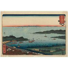 歌川広重: Niigata in Echigo Province (Echigo Niigata), from the series Wrestling Matches between Mountains and Seas (Sankai mitate zumô) - ボストン美術館
