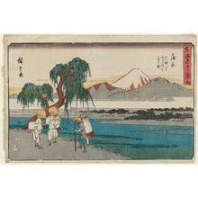歌川広重: Kanbara: View of the Fuji River from Iwafuchi (Kanbara, Iwafuchi yori Fujikawa o miru zu), from the series The Fifty-three Stations of the Tôkaidô Road (Tôkaidô gojûsan tsugi no uchi), also known as the Gyôsho Tôkaidô - ボストン美術館