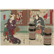 Utagawa Yoshitaki: Actors Jitsukawa Enzaburô I as Aburaya Yohei (R) and Bandô Hikosaburô V as Azuma (L), in Aburauri Koi no Yamazaki - Museum of Fine Arts