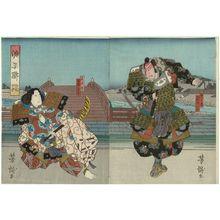 Utagawa Yoshitaki: Actors Arashi Kichisaburô III as Kumagai (R) and Ôtani Tomomatsu I as Atsumori (L), in Genpei Tsutsuji - Museum of Fine Arts