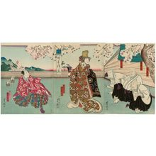 Utagawa Yoshitaki: Actors Ichikawa Shiyû I as Shiyûbô, Nakamura Tomosa II as Gankôbô and Mimasu Tanin V as Taninbô (R); Bandô Hikosaburô V as a courtesan (C); and Bandô Hikosaburô V as the Kyôgen actor Tsuruhachi (L), in Yanagi Sakura Haru no Nishiki-e - Museum of Fine Arts