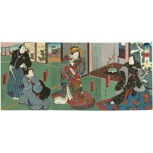 Utagawa Yoshitaki: Actors Arashi Rikaku II as Fujiya Izaemon (R), Arashi Rikan III as Yûgiri (C), Onoe Baikô as Osaki and Nakamura Jakuemon I as Kizaemon (L), in Kuruwa Bunsho - Museum of Fine Arts