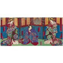 Utagawa Yoshitaki: Actors Ichikawa Udanji I as Kojorô (R), Ichikawa Udanji I as Shiranui Daijin (C), and Ichikawa Dannosuke I as Kojorô (L), in the Play Shiranui Monogatari - Museum of Fine Arts