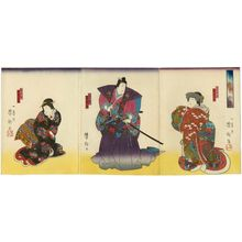 Utagawa Yoshitaki: Actors Arashi Rikan III as Yaegiri-hime (R), Arashi Rikaku II as Katsuyori (C), and Nakamura Sennosuke I as Nureginu (L), in the play Honchô Nijûshikô - Museum of Fine Arts