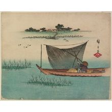 Utagawa Hiroshige: Fisherman in a Boat with a Scoop Net Passing Mimeguri Inari Shrine - Museum of Fine Arts