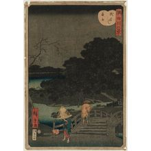 Utagawa Hiroshige II: Night Rain at Makurabashi (Makurabashi yau), from the series Eight Views of the Sumida River (Sumidagawa hakkei) - Museum of Fine Arts