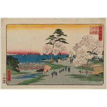 二歌川広重: Goten-yama, from the series Famous Places in Edo (Edo meisho) - ボストン美術館