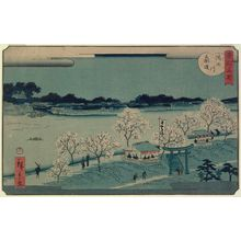 Utagawa Hiroshige II: Mimeguri Embankment on the Sumida River (Sumidagawa Mimeguri tsutsumi), from the series Famous Places in the Eastern Capital (Tôto meisho) - Museum of Fine Arts