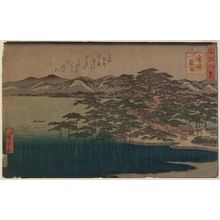 Utagawa Hiroshige II: Night Rain at Karasaki (Karasaki yau), from the series Eight Views of Ômi (Ômi hakkei) - Museum of Fine Arts