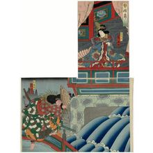 Utagawa Kunikazu: Actors Arashi Rikaku II as Kin Shôjo (R) and Arashi Rikan III as Watônai (L) in the play Kokusenya - Museum of Fine Arts
