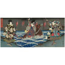 Utagawa Kunikazu: Actors Nakamura Kanjaku II as Hosokawa Masafusa (R), Nakamura Tamashichi I as Oguri Sukeshige (C), and Kataoka Gadô II as Kazama Hachirô (L), in Oguri Monogatari - Museum of Fine Arts