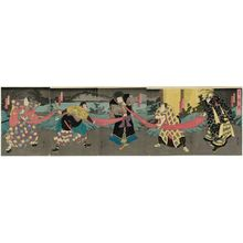 Utagawa Kunikazu: Actors in Snow, Moon, and Flowers (Setsugekka), from right: Ichikawa Ebijûrô IV as Saeda Masaemon; Jitsukawa Enzaburô I as Kobuna Gengorô; Onoe Tamizô II as Ishikawa Goemon; Arashi Kichisaburô III as Saitô Kuranosuke; Bandô Hikosaburô V as Kanô Shirôjirô - Museum of Fine Arts