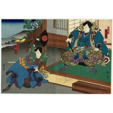 Utagawa Kunikazu: Actors Onoe Tamizô II as Hyôbunosuke (R) and Arashi Rikaku II as Tanigorô (L) - Museum of Fine Arts