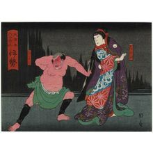 歌川国員: Ise Province: (Nakayama Nanshi II as) Shinobu and (Nakamura Tomosa II as) Nyohachi, from the series The Sixty-odd Provinces of Great Japan (Dai Nippon rokujû yo shû) - ボストン美術館