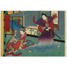 歌川国員: Shinano Province: (Jitsukawa Enzaburô I as) Takeda Katsuyori and (Nakayama Nanshi II as) Princess Yaegaki, from the series The Sixty-odd Provinces of Great Japan (Dai Nippon rokujû yo shû) - ボストン美術館
