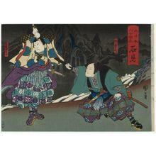 歌川国員: Iwami Province: (Ichikawa Danzô VI as) Saka Dan'emon and (Onoe Tamizô II as) Iwami Jûtarô, from the series The Sixty-odd Provinces of Great Japan (Dai Nippon rokujû yo shû) - ボストン美術館