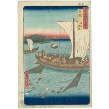 Utagawa Hiroshige: Wakasa Province: A Fishing Boat Catching Flat-Fish in a Net (Wakasa, Gyosen karei ami), from the series Famous Places in the Sixty-odd Provinces [of Japan] ([Dai Nihon] Rokujûyoshû meisho zue) - Museum of Fine Arts