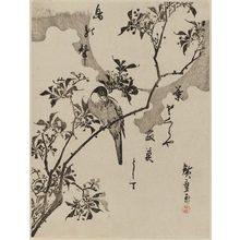 歌川広重: Bird on Nandina Branch under Full Moon - ボストン美術館