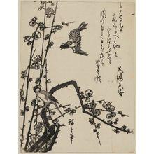 Utagawa Hiroshige: Cuckoo, Finch, and Plum Blossoms - Museum of Fine Arts