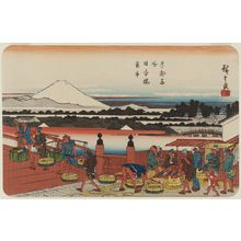 Utagawa Hiroshige: Fish Market at Nihonbashi Bridge (Nihonbashi uoichi), from the series Famous Places in the Eastern Capital (Tôto meisho) - Museum of Fine Arts