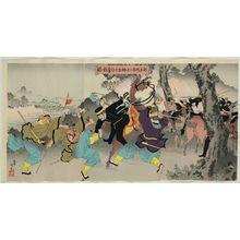 安達吟光: Major Sakakibara Fights Fiercely to the South of Ximucheng (Takubokujô-nan ni oite Sakakibara shôsa funsen no zu) - ボストン美術館
