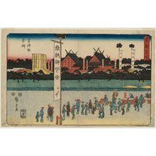 歌川広重: Festival at the Shiba Shinmei Shrine (Shiba Shinmei sairei), from the series Famous Places in the Eastern Capital (Tôto meisho) - ボストン美術館