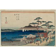Utagawa Hiroshige: Cherry Blossoms in Full Bloom along the Sumida River (Sumidagawa hanazakari), from the series Famous Places in the Eastern Capital (Tôto meisho) - Museum of Fine Arts