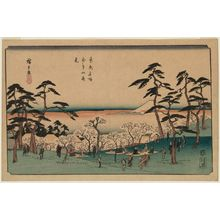 Utagawa Hiroshige: Cherry-blossom Viewing at Asuka Hill (Asukayama hanami), from the series Famous Places in the Eastern Capital (Tôto meisho) - Museum of Fine Arts