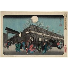 Utagawa Hiroshige: Cherry Blossoms at Night on Naka-no-chô in the Yoshiwara (Yoshiwara Naka-no-chô yozakura), from the series Famous Places in the Eastern Capital (Tôto meisho) - Museum of Fine Arts