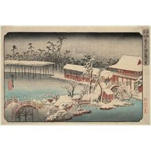 歌川広重: Snow in the Precincts of the Tenman Shrine at Kameido (Kameido Tenmangû keidai yuki), from a series Famous Places in the Eastern Capital (Tôto meisho) - ボストン美術館