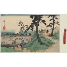 歌川広重: Listening to Crickets at Dôkan Hill (Dôkan-yama mushi-kiki no zu), from the series Famous Places in the Eastern Capital (Tôto meisho) - ボストン美術館