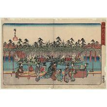 Utagawa Hiroshige: Wisteria at Kameido (Kameido Tenjin fuji [no] hana), from the series Famous Places in the Eastern Capital (Tôto meisho) - Museum of Fine Arts