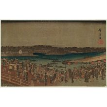 Utagawa Hiroshige: Fireworks at Ryôgoku Bridge (Ryôgokubashi hanabi no zu), from the series Famous Places in the Eastern Capital (Tôto meisho) - Museum of Fine Arts