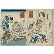 Utagawa Kuniyoshi: Rats Worshipping Daikoku at the Day and Hour of the Rat (Kinoene no nezumi) and Oxen Eating Very Spicy Food (Karashi-kiki no ushi), from the series Comical Twelve Signs of the Zodiac (Dôke jûnishi) - Museum of Fine Arts